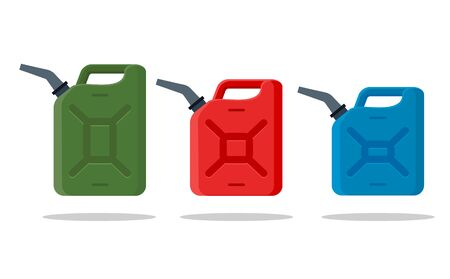 Gasoline fuel canister vector icon. Petrol can gallon gas tank fuel container.