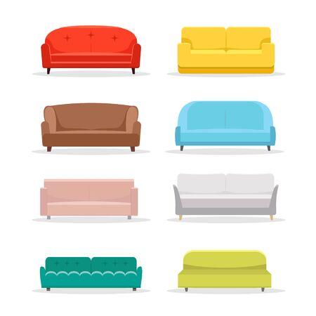 Sofa flat vector icon furniture. Interior couch home sofa seat illustration design Vector Illustratie