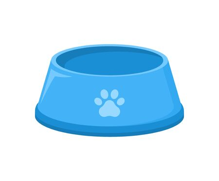 Pet food bowl for dog cat vector icon. Pet plate isolated flat feed bowl