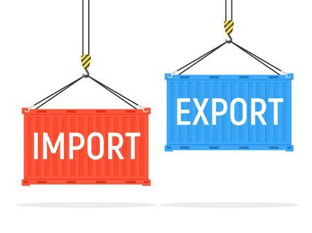 Vector contenedor de carga puerto exportación importación envío contenedor de metal de fondo aislado