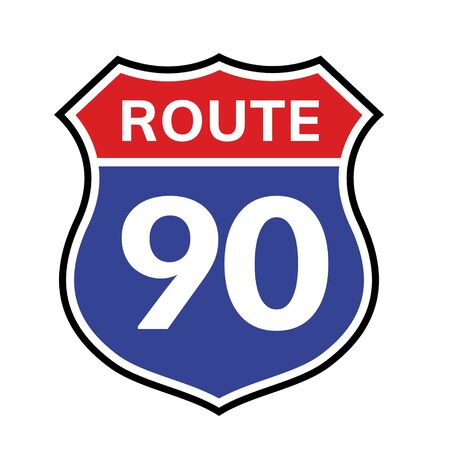 90 route sign icon. Vector road 90 highway interstate american freeway us california route symbol.  イラスト・ベクター素材