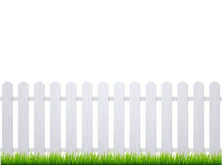 Weißer Zaun mit Gras. Hölzerner Streikpostenhintergrund lokalisierte Bauernhofgartenbarierillustration