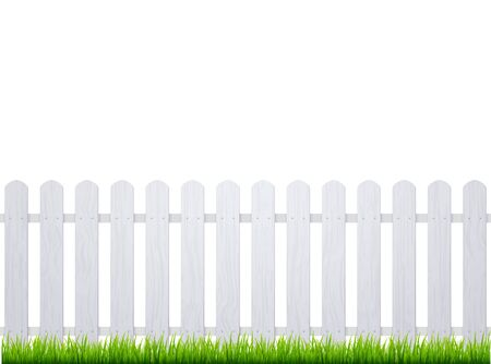 White fence with grass. Wooden picket background isolated farm garden barier illustration