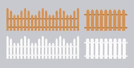 Holzzaun-Abbildung. Bauernhof-Holz-Mauerhof, Cartoon-Garten. Holztor Hintergrundmuster