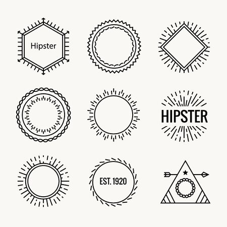 Geometric hipster vintage logo shape icon. Hipster cafe logo badge art vector element