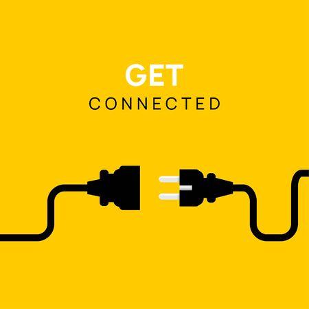 Prise électrique de connexion de concept de prise. Connectez-vous ou déconnectez l'illustration du câble de la prise d'alimentation vectorielle.