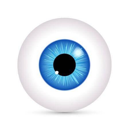 Eye vector look icon. Eyeball vision blue eyesight view symbol ball isolated icon illustration