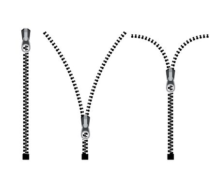 Open zipper teeth metal fastener isolated illustration. Unzip sewing black lock plastic zip buckle