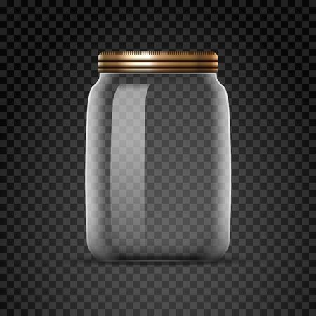 Empty glass jar isolated on transparent background. White lid bottle jar with metal cap Ilustrace