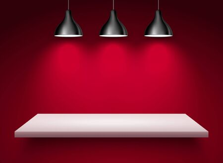 Spotlight shelf on wall background vector design. Light gallery spot empty room advertising shelf red lamp Illusztráció