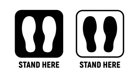 Stand here distance social icon. Wait here feet sign design sticker Vektorové ilustrace