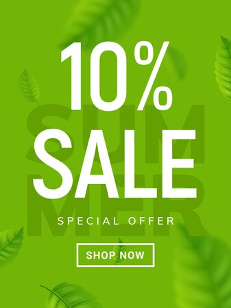 Summer sale banner background. Vector summer clearance 10 percent tropical special offer design Ilustrace