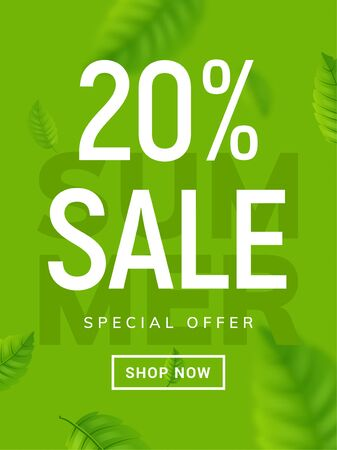 Summer sale banner background. Vector summer clearance 20 percent tropical special offer design