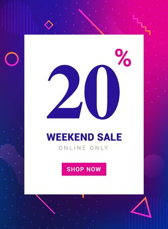 Sale promo banner weekend offer. Big Discount 20 percent promotion deal template