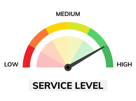 Satisfaction rate icon scale. Feedback speedometer client customer service meter