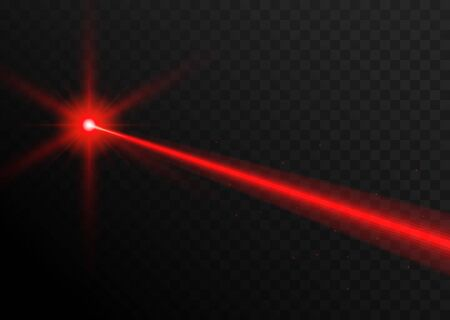 Laser beam red light. Vector laser beam line ray glow effect energy
