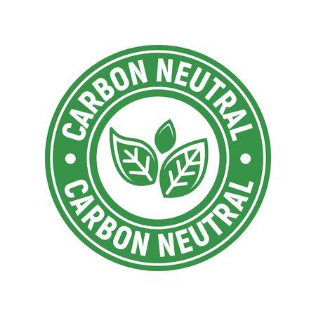 Timbre d'icône neutre en carbone. Concept d'étiquette de fond d'écologie de monoxyde d'énergie CO2 Vecteurs