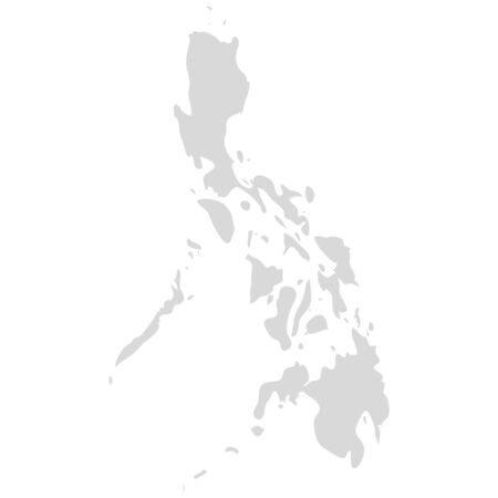 Philippine area country vector map. Filipino grey background map