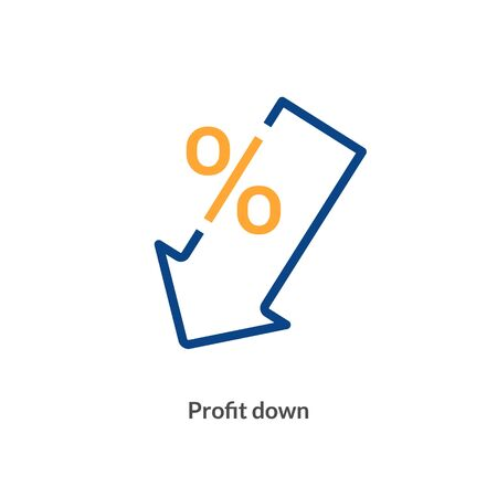 Low rate profit cost icon. Reduction cost decrease percent profit down sign Stock Illustratie