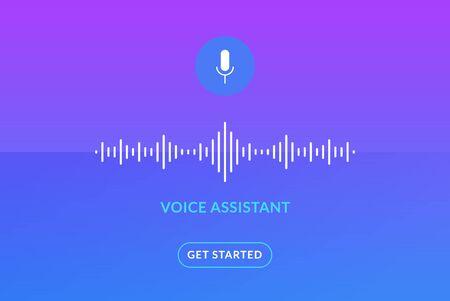 Voice assistant soundwave illustration. AI assistant conversation sound tech, smart recognition Çizim