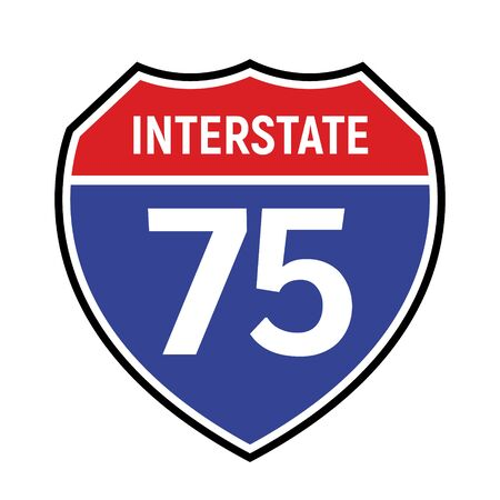 75 route sign icon. Vector road 75 highway interstate american freeway us california route symbol  イラスト・ベクター素材