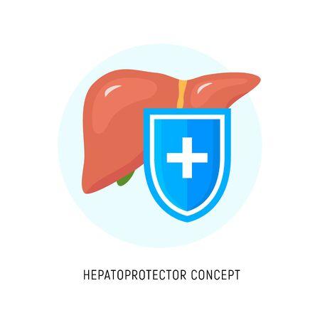 Hepatoprotector concept icon, healthy liver flat icon shield. Liver care guard icon
