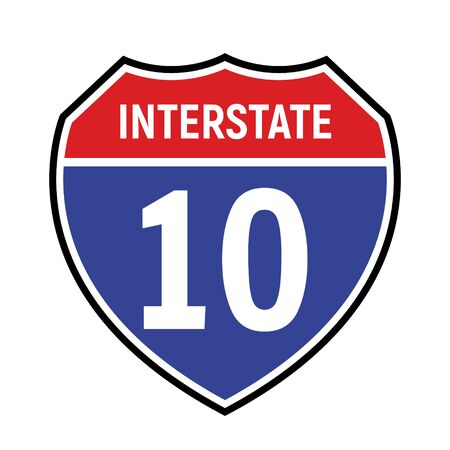 10 route sign icon. Vector road 10 highway interstate american freeway us california route symbol