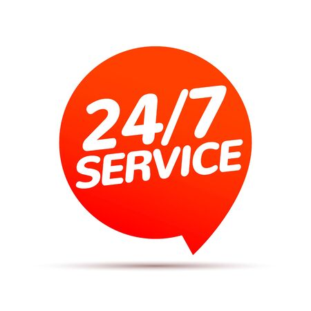 24 hour 7 day service available support. Service clock logo tag icon  イラスト・ベクター素材