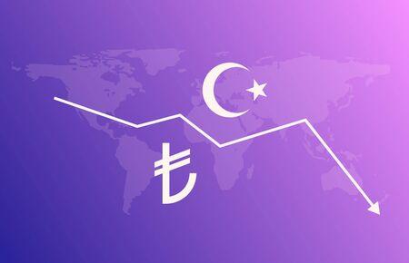 Turkish lira sign money economy currency crisis illustration. Vector lira tl logo design symbol  イラスト・ベクター素材