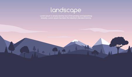 Landscape sunset flat background. Nature sky, mountain scene, summer cartoon sunset landscape travel design Ilustrace