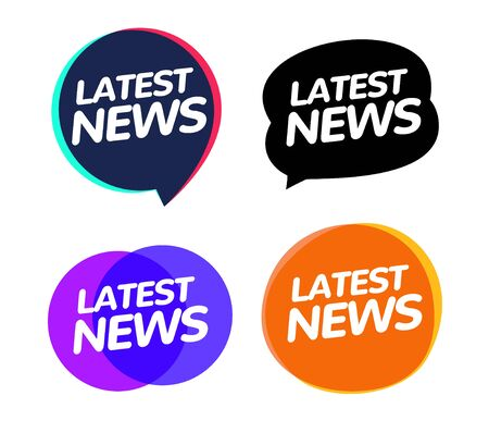 Latest news badge announcement. News speech bubble journalism information concept