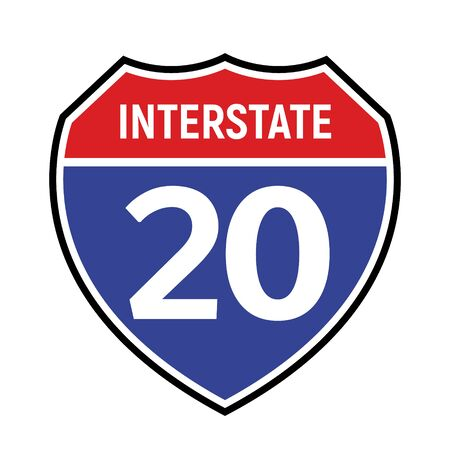 20 route sign icon. Vector road 20 highway interstate american freeway symbol