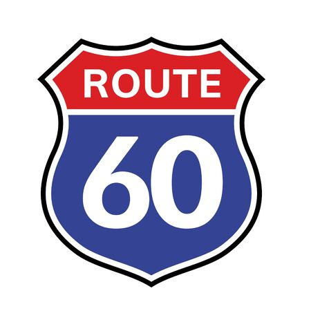 60 route sign icon. Vector road 60 highway interstate american freeway us california route symbol.
