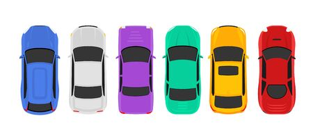 Vector car top view icon illustration. Vehicle flat isolated car icon  イラスト・ベクター素材