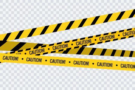 Caution tape stripe danger line. Police hazard do not cross yellow tape safety warning  イラスト・ベクター素材
