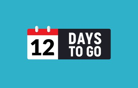 12 days to go last countdown icon. Eleven days go sale price offer promo deal timer, 12 days only  イラスト・ベクター素材