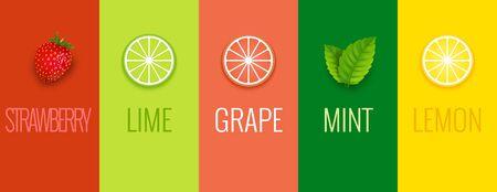 Fruit mint lime lemon or grape juice sticker flavor icon. Fruit logo label vitamin