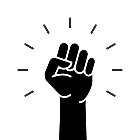 Fist hand power logo. Protest strong fist raised fight icon, rebel illustration
