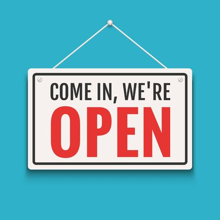 Open sign business vector shop icon. We are open door welcome board  イラスト・ベクター素材