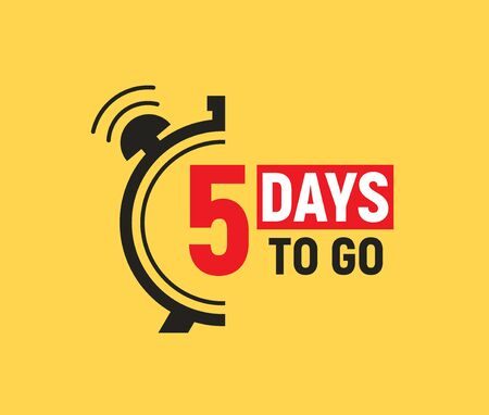 5 days to go last countdown icon. Five day go sale price offer promo deal timer, 5 days only