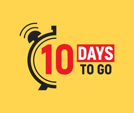 10 days to go last countdown icon. Ten days go sale price offer promo deal timer, 10 days only  イラスト・ベクター素材
