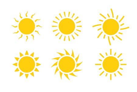 Sun icon symbol illustration, Sunlight design weather. Flat sunshine isolated set of sun logo  イラスト・ベクター素材
