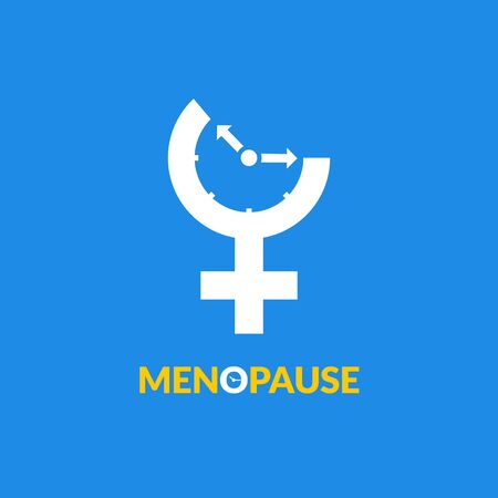 Menopause icon awareness. Woman fertility age clock menstrual period