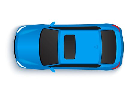 Vector car top view icon illustration. Vehicle flat isolated car vehicle isolated icon  イラスト・ベクター素材