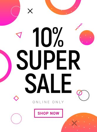 Super Sale banner 10 percent offer promotion. Vector promo SALE design poster