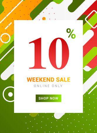 Sale promo banner weekend offer. Big Discount 10 percent promotion deal template  イラスト・ベクター素材