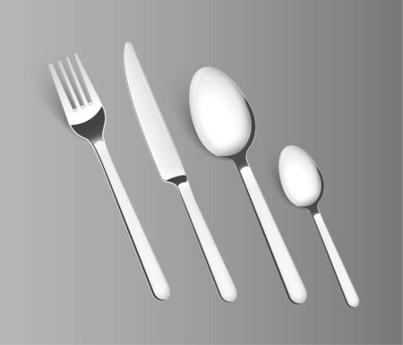 Silverware fork spoon cutlery isolated vector metal set. Knife silver steel kitchen tableware