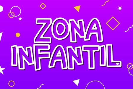 Zona infantil - Kids Zone in english game banner design background. Playground vector child zone sign  イラスト・ベクター素材