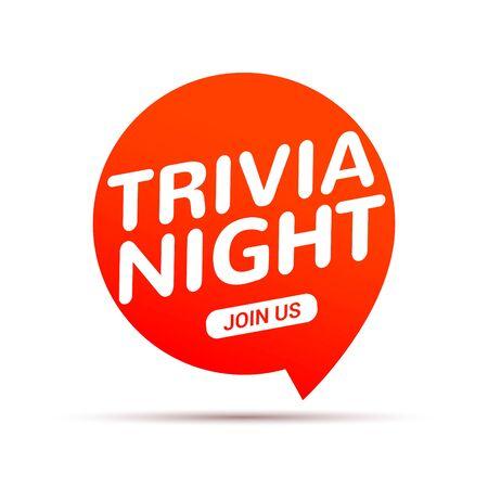 Trivia night icon speech bubble sign. Play brain game fun learn