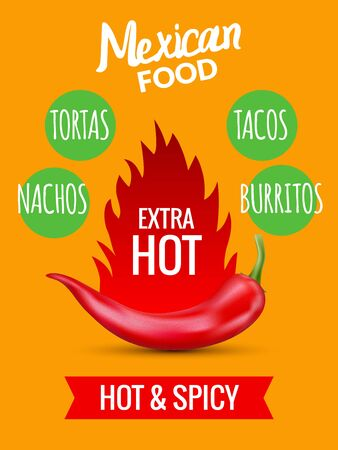 Red chili pepper mexican food hot taco, vector spicy restaurant design. Chilli pepper mexico food